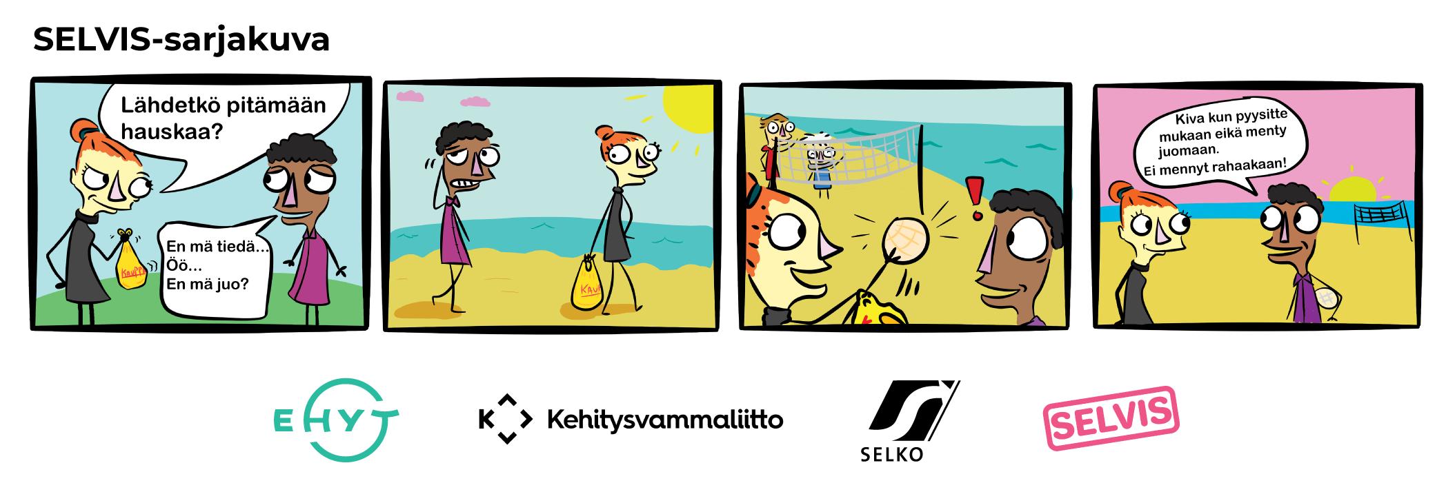 SELVIS-sarjakuva alkoholista, lue tekstivastine sarjakuvan alapuolelta.
