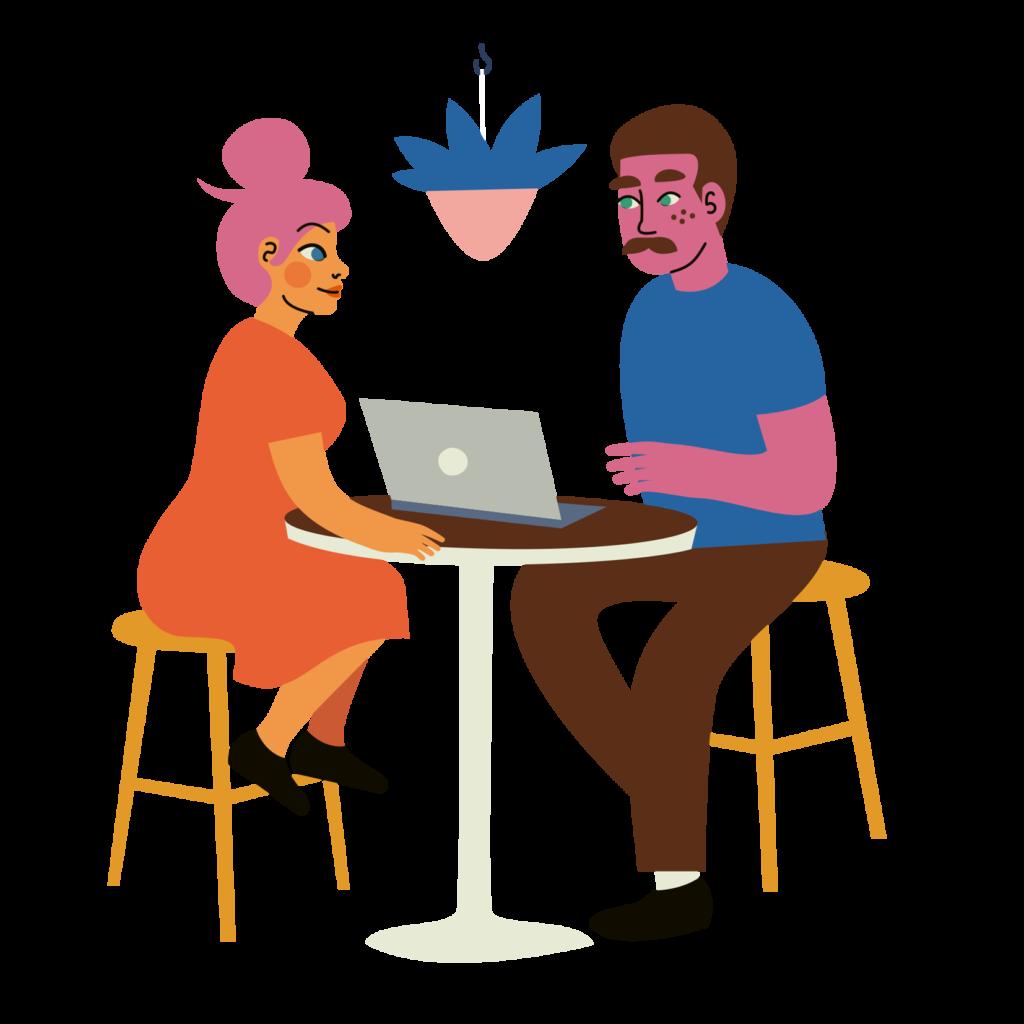 Piirroskuvassa kaksi aikuista pöydän ääressä. Toisella tietokone.