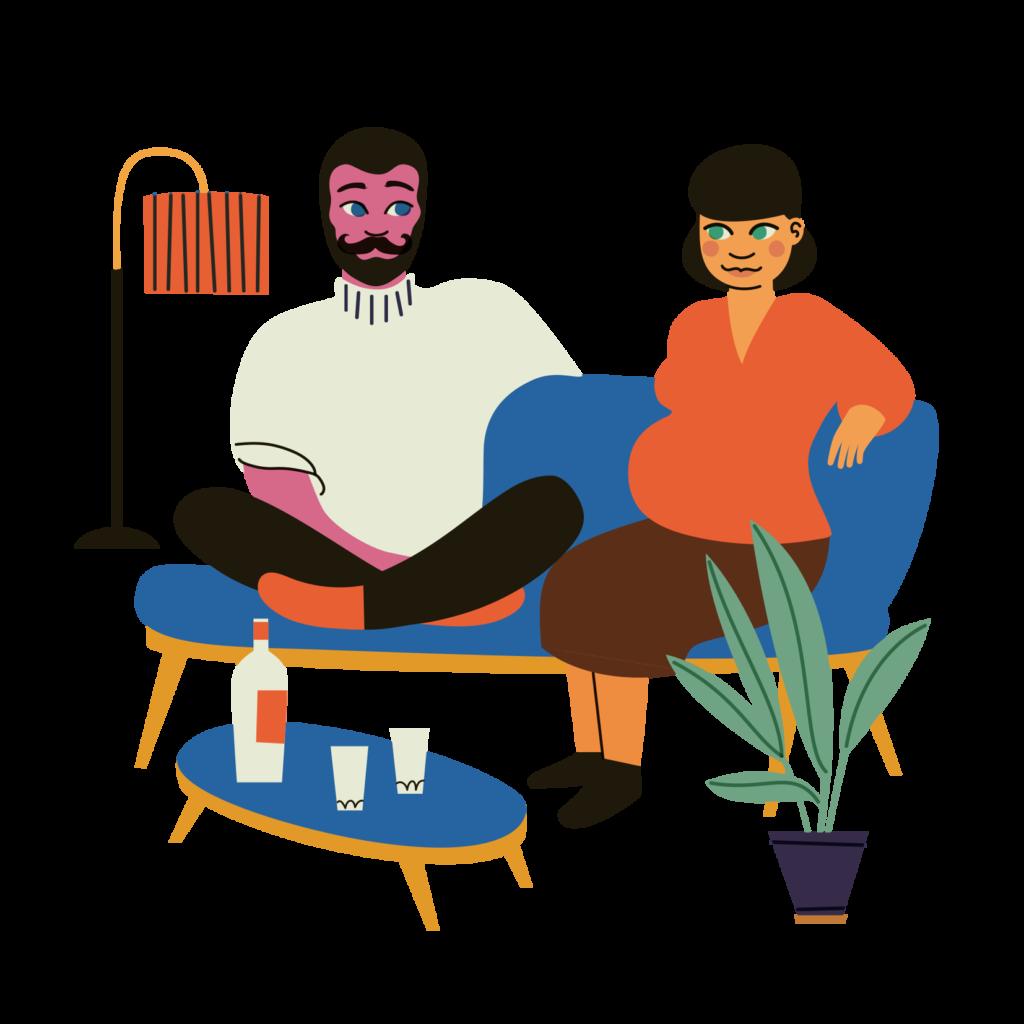 Piirroskuvassa pariskunta istuu sohvalla. Nainen on raskaana. Pöydällä tavaroiden joukossa pullo.